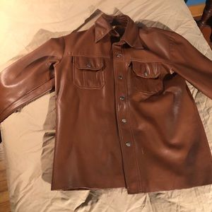 Vintage Brown Leather Button-Up Jacket
